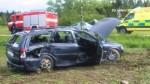 U Čertoviny se střetl autobus s osobním vozem
